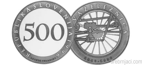 Srebrnjak 500 tolarjev Prva železnica