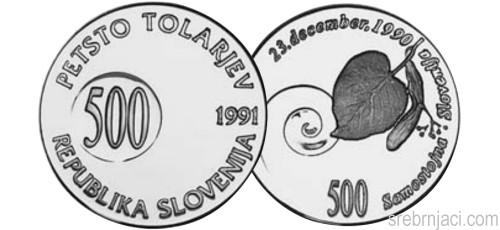 Srebrnjak 500 tolarjev Samostojna Slovenija 1991.