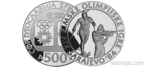 Srebrnjak 500 dinara Zimske olimpijske igre Sarajevo, 1984, Biatlon