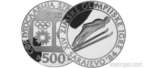 Srebrnjak 500 dinara Zimska olimpijada Sarajevo, Skijaški skokovi, 1983, 1984