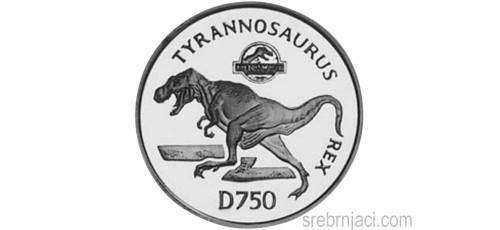 Srebrnjak 750 dinara Jurassic Park