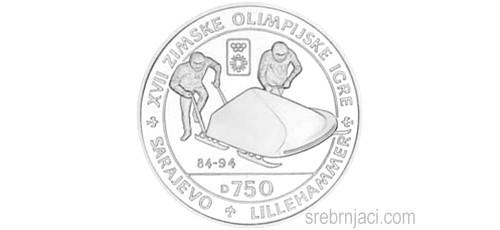 Srebrnjak 750 dinara Zimske olimpijske igre Sarajevo Lillehammer, 1984-1994