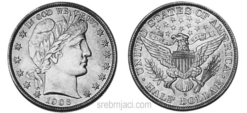 Srebrnjak half dollar Barber-Liberty Head, od 1892. do 1915.