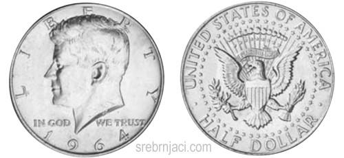 Srebrnjak half dollar Kennedy, 1964