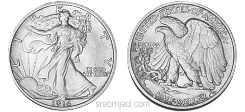 Srebrnjak half dollar Walking Liberty, od 1915. do 1947.