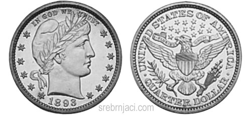Srebrnjak quarter dollar Barber