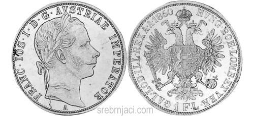 Srebrnjak 1 florin od 1857. do 1892.