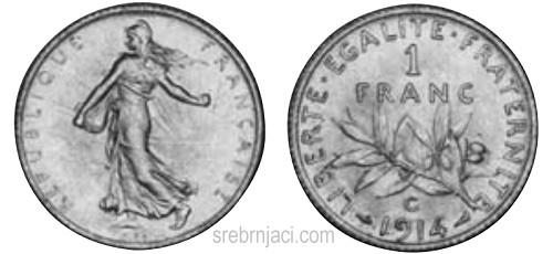 Srebrnjak 1 franc od 1898. do 1920.