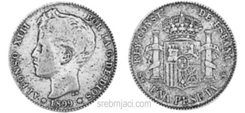Srebrnjaci 1 peseta Alfonso, od 1869. do 1933.