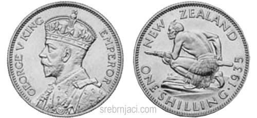 Srebrnjaci 1 schilling King George, od 1933. do 1947.