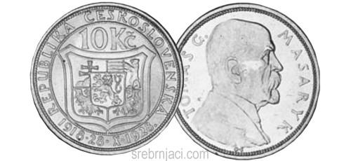 Srebrnjaci 10 korun, od 1928. do 1933.