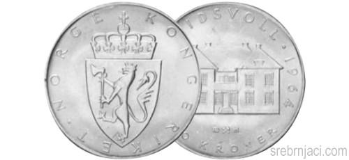 Srebrnjak 10 kroner Eidsvoll, 1964.