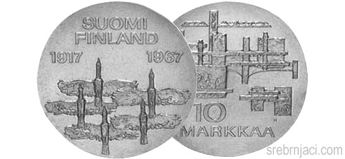 Srebrnjak 10 markkaa Neovisnost Finske, 1917-1967