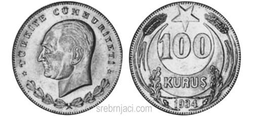 Srebrnjak 100 kurus (lira) Kemal Ataturk, 1934.