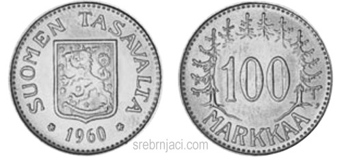 Srebrnjak 100 markkaa, od 1956. do 1960.