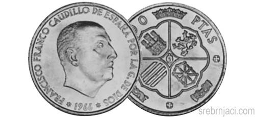 Srebrnjak 100 pesetas Francisco Franco, 1966.