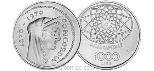 Komemorativni srebrnjaci 1000 lire, od 1970. do 2001.