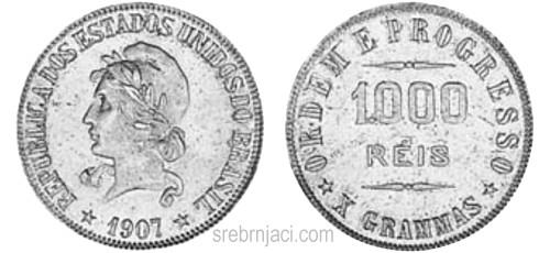 Srebrnjaci 1000 reis od 1906. do 1913.