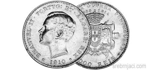 Srebrnjak 1000 reis Emanvel II, 1910.