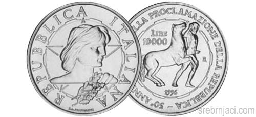Komemorativni srebrnjaci 10000 lira, od 1994. do 2000.