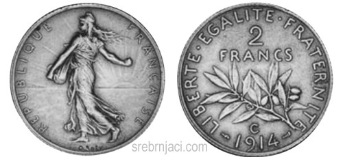 Srebrnjak 2 francs od 1898. do 1920.