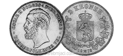 Srebrnjaci 2 kroner, od 1878. do 1917.