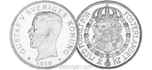 Srebrnjak 2 kronor Gustaf V, od 1910. do 1940.