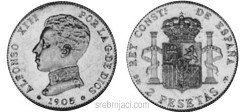 Srebrnjaci 2 pesetas Alfonso, od 1869. do 1905.