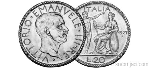 Srebrnjak 20 lire Vittorio Emanvele, od 1927. do 1934.