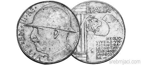 Srebrnjak 20 lire Vittorio Emanvele, 1928.