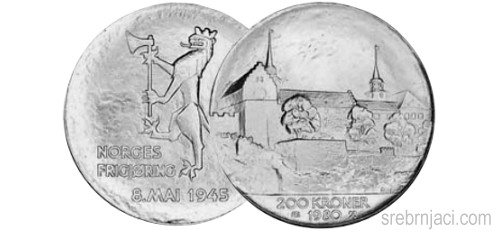 Komemorativni srebrnjak 200 kroner, 1980.