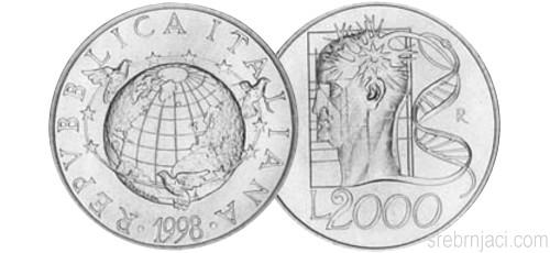 Komemorativni srebrnjaci 2000 lira, od 1998. do 1999.