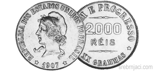 Srebrnjaci 2000 reis od 1906. do 1913.