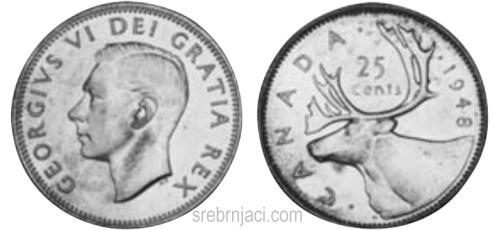 Srebrnjaci 25 cents, od 1920. do 1967.