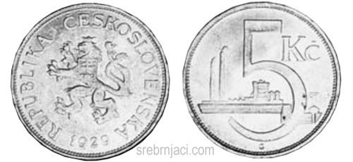 Srebrnjak 5 korun, od 1928. do 1932.