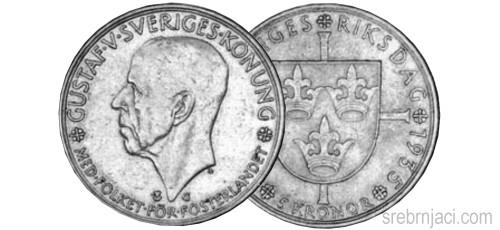 Srebrnjak 5 kronor Gustaf V, 1935.