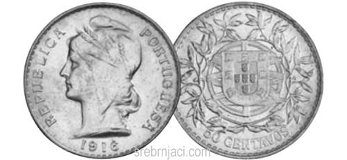 Srebrnjak 50 centavos od 1912. do 1916.