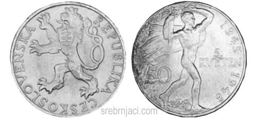 Srebrnjaci 50 korun, od 1947. do 1949.