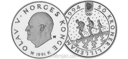 Srebrnjaci 50 kroner Zimska olimpijada Lillehammer