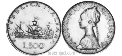 Srebrnjak 500 lira, od 1958. do 2001.