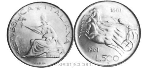 Srebrnjak 500 lira, 1961.