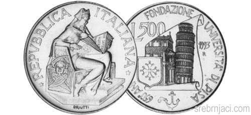 Komemorativni srebrnjaci 500 lira od 1992. do 1993.