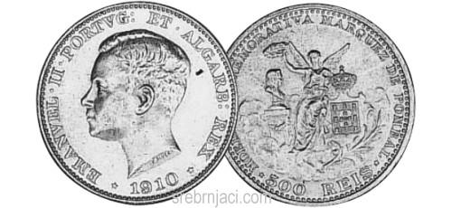 Srebrnjak 500 reis Emanuel II, 1910.