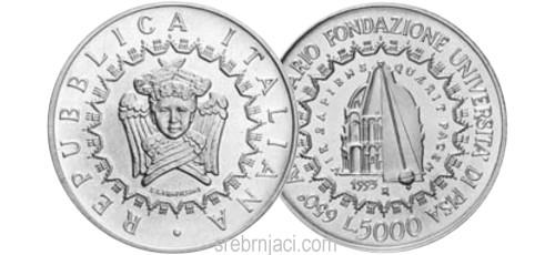 Komemorativni srebrnjaci 5000 lira, od 1993. do 1999.