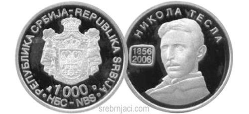 Srebrnjak 1000 dinara Nikola Tesla